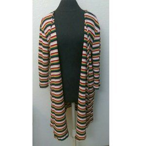 Nix & Nox Rainbow Striped Open Front Long Cardigan